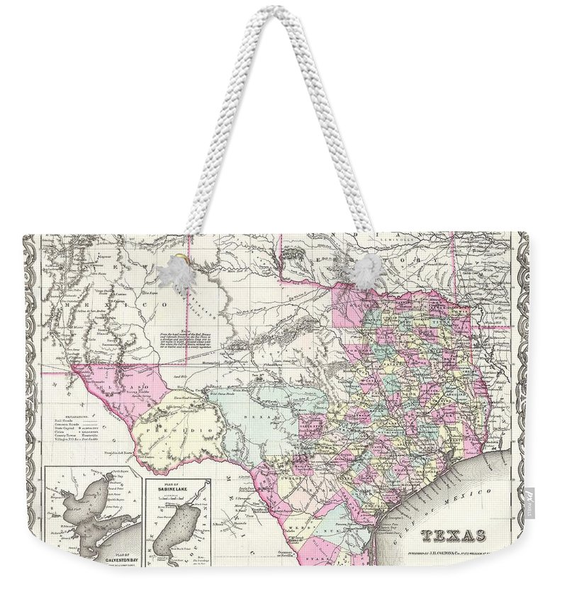 Weekender Tote Bag featuring the photograph 1855 Colton Map Of Texas by Paul Fearn