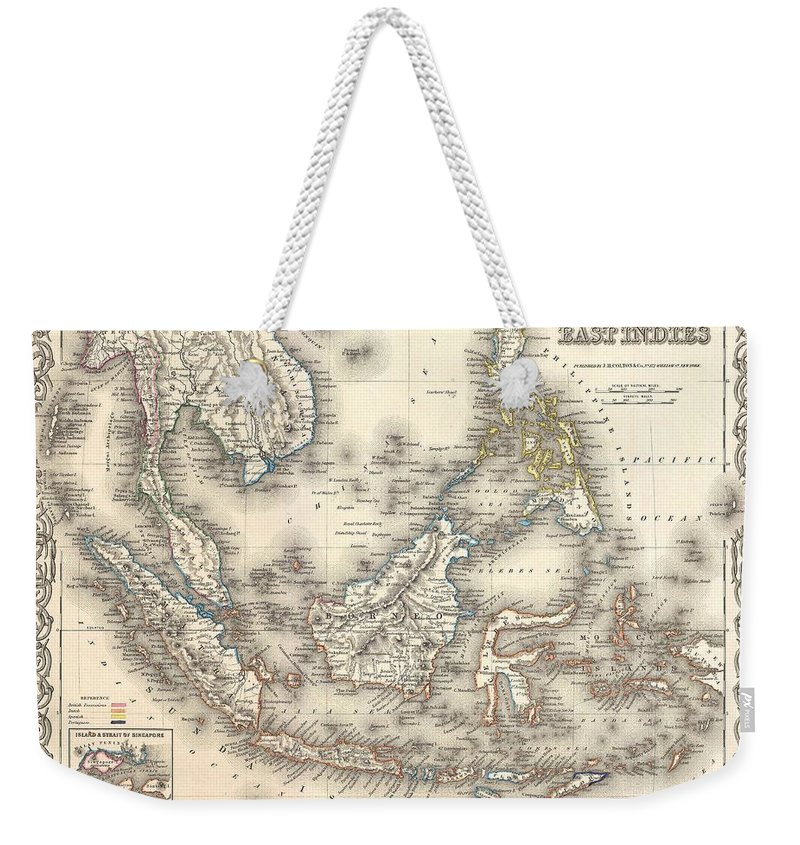 Weekender Tote Bag featuring the photograph 1855 Colton Map Of The East Indies Singapore Thailand Borneo Malaysia by Paul Fearn