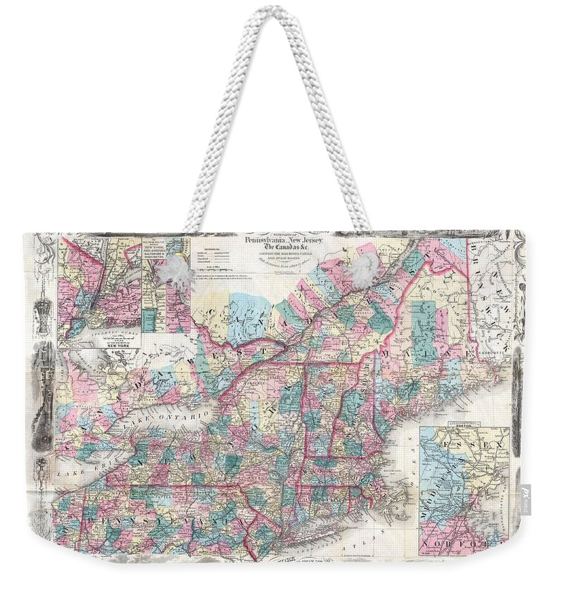Weekender Tote Bag featuring the photograph 1856 Colton Pocket Map Of New England And New York by Paul Fearn