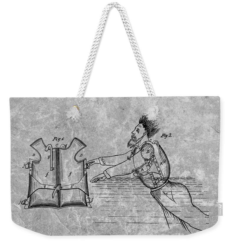 1869 Life Preserver Patent Weekender Tote Bag featuring the drawing 1869 Life Preserver Patent Charcoal by Dan Sproul