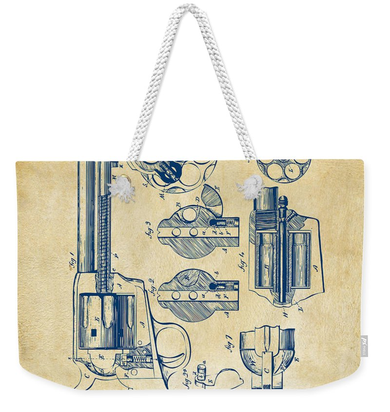 Colt Weekender Tote Bag featuring the digital art 1875 Colt Peacemaker Revolver Patent Vintage by Nikki Marie Smith