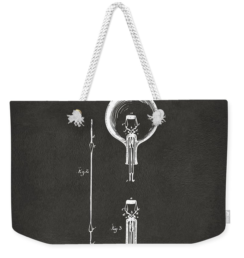 Edison Weekender Tote Bag featuring the digital art 1880 Edison Electric Lamp Patent Artwork - Gray by Nikki Marie Smith