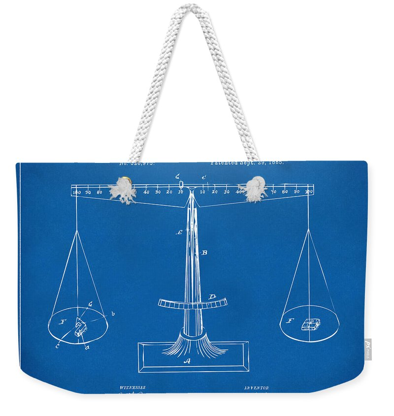 1885 balance weighing scale patent artwork blueprint weekender tote justice weekender tote bag featuring the digital art 1885 balance weighing scale patent artwork blueprint by malvernweather Image collections