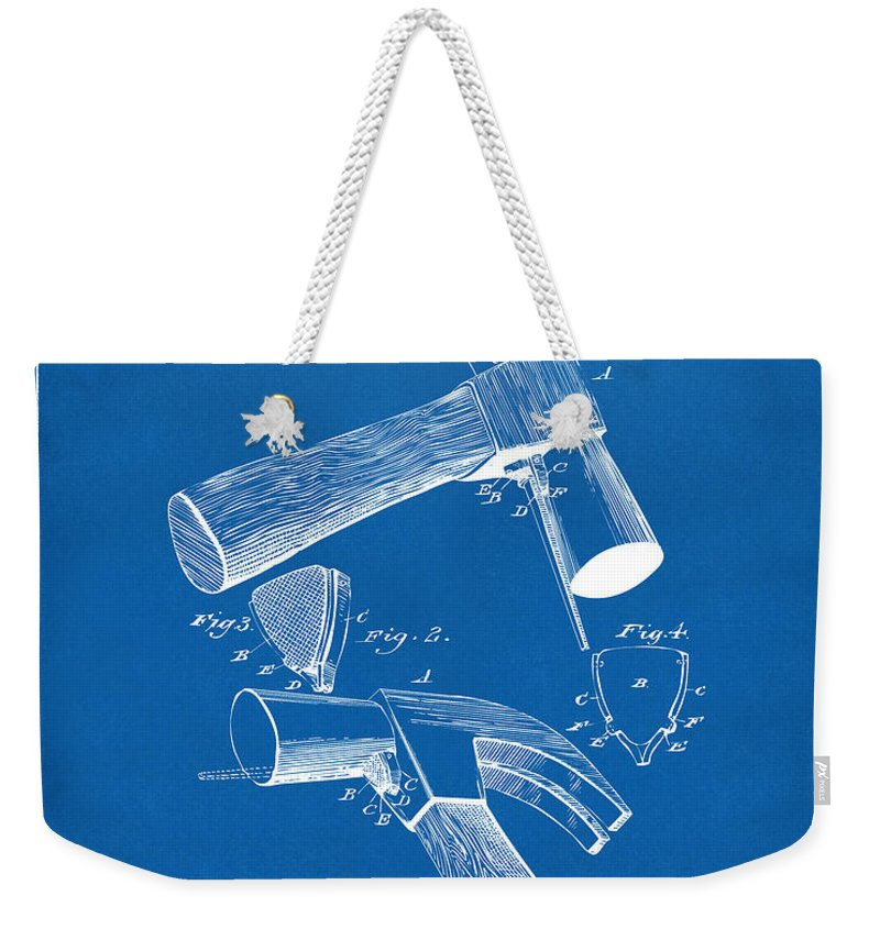 Hammer Weekender Tote Bag featuring the digital art 1890 Hammer Patent Artwork - Blueprint by Nikki Marie Smith