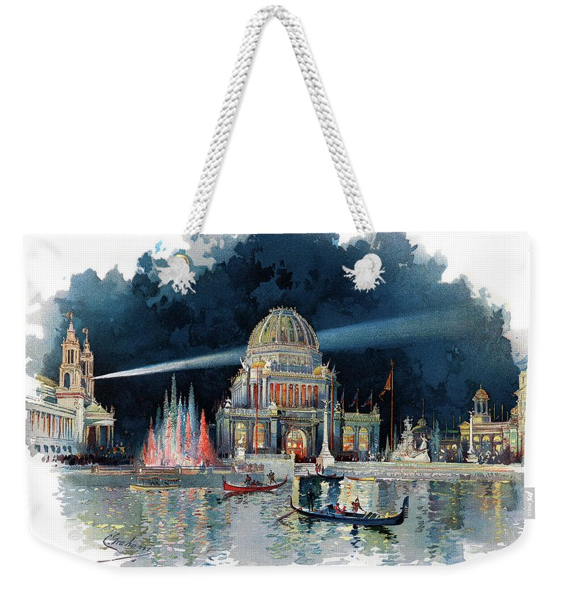 Horizontal Weekender Tote Bag featuring the painting 1890s Night In Grand Court Of World by Vintage Images