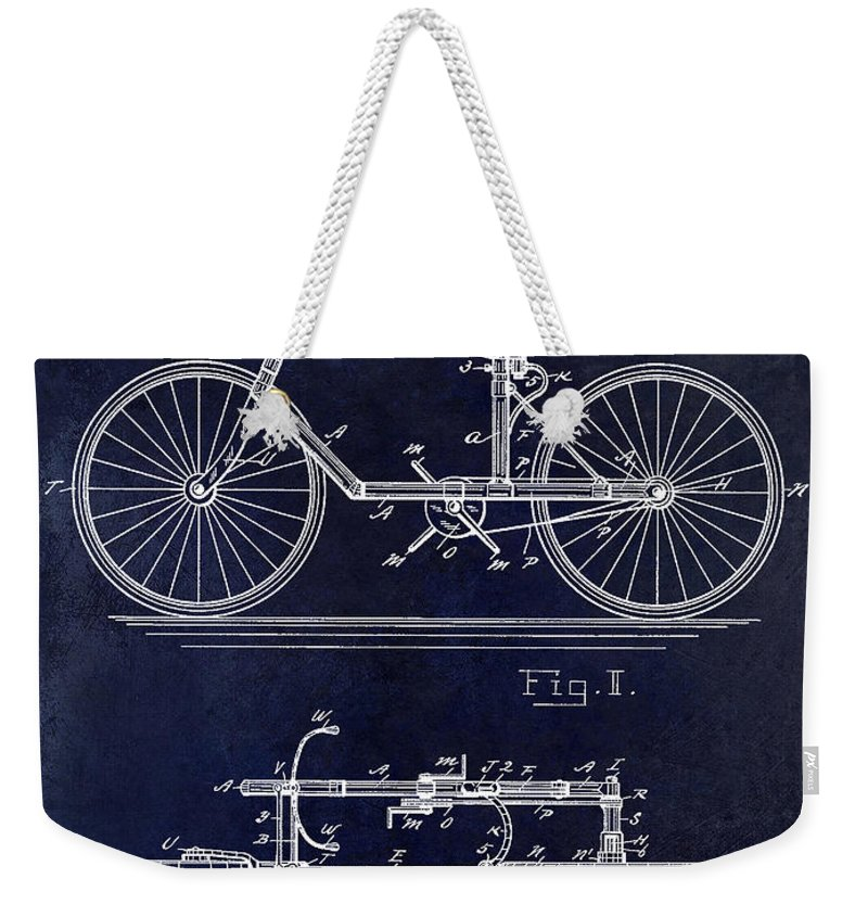 1895 Weekender Tote Bag featuring the photograph 1895 Bicycle Patent Drawing Blue by Jon Neidert