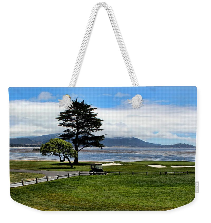 Pebble Beach Weekender Tote Bag featuring the photograph 18th At Pebble Beach Panorama by Judy Vincent