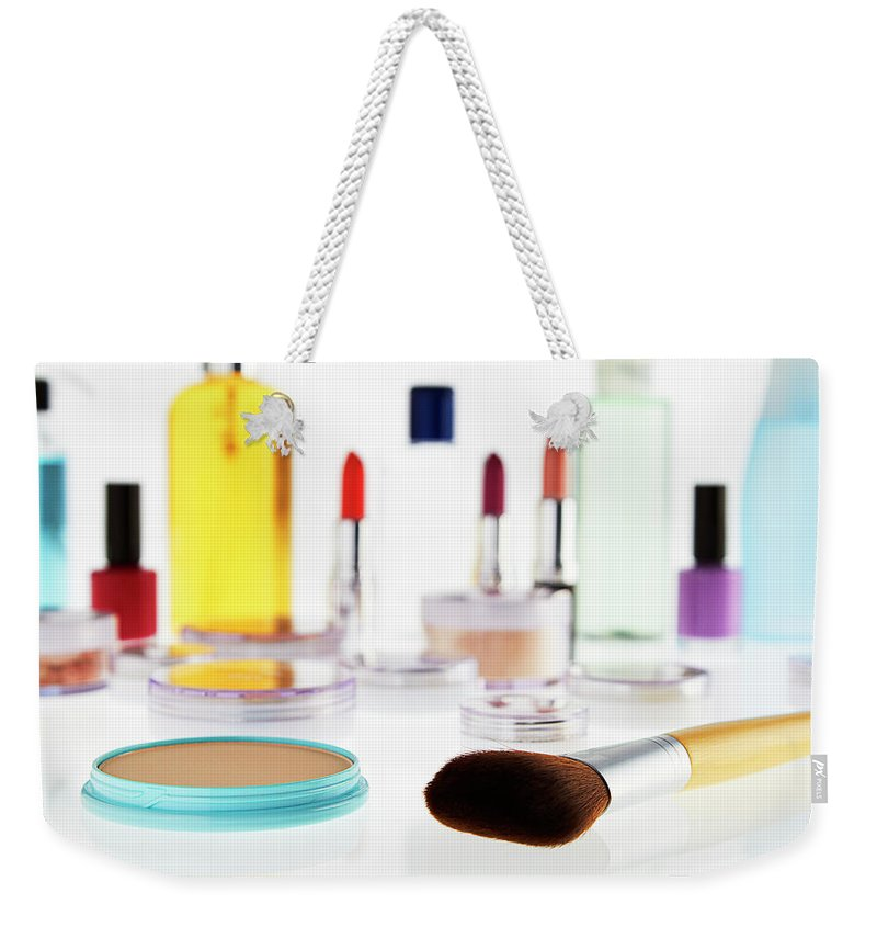 White Background Weekender Tote Bag featuring the photograph Still Life Of Beauty Products by Stephen Smith