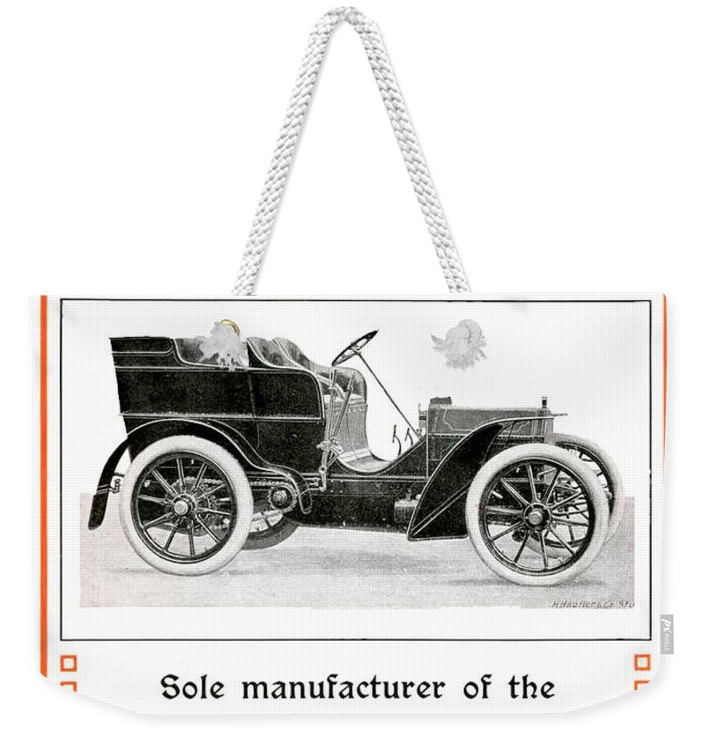 1904 Weekender Tote Bag featuring the digital art 1904 - Daimler Motor Company Mercedes Advertisement - Color by John Madison