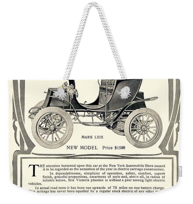 1907 Weekender Tote Bag featuring the digital art 1907 - Columbia Victoria Phaeton Electric Automobile Advertisement by John Madison