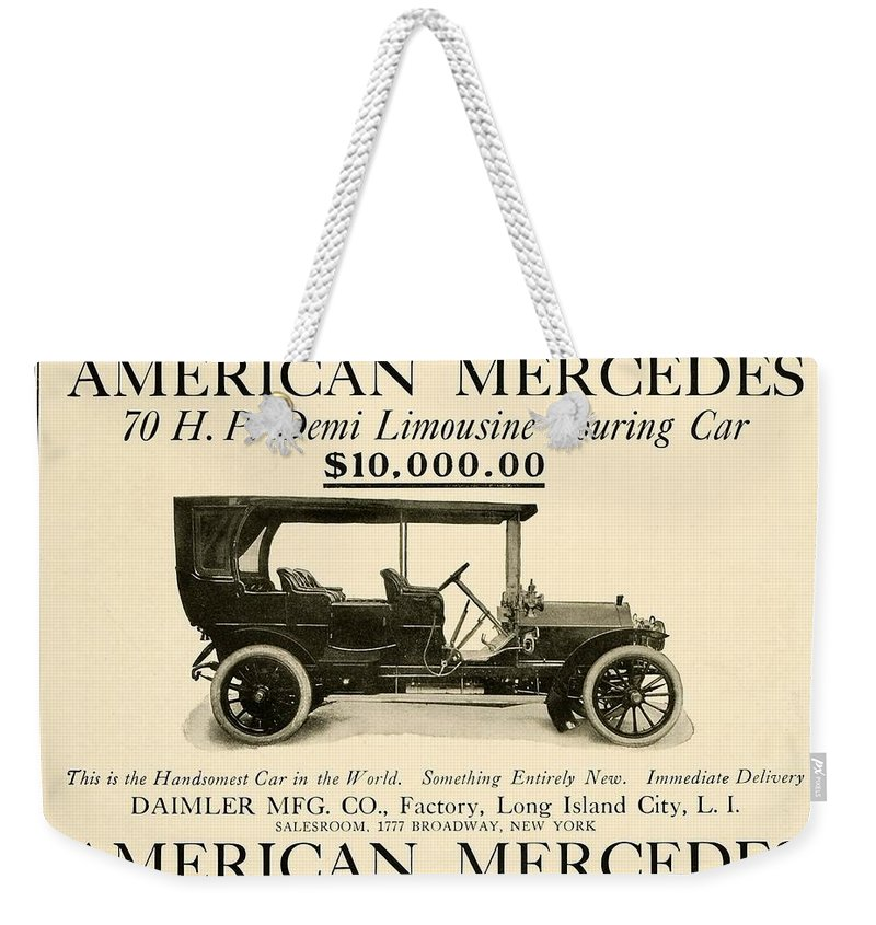1907 Weekender Tote Bag featuring the digital art 1907 - Daimler Manufacturing Company - American Mercedes Demi Limousine Automobile Advertisement by John Madison