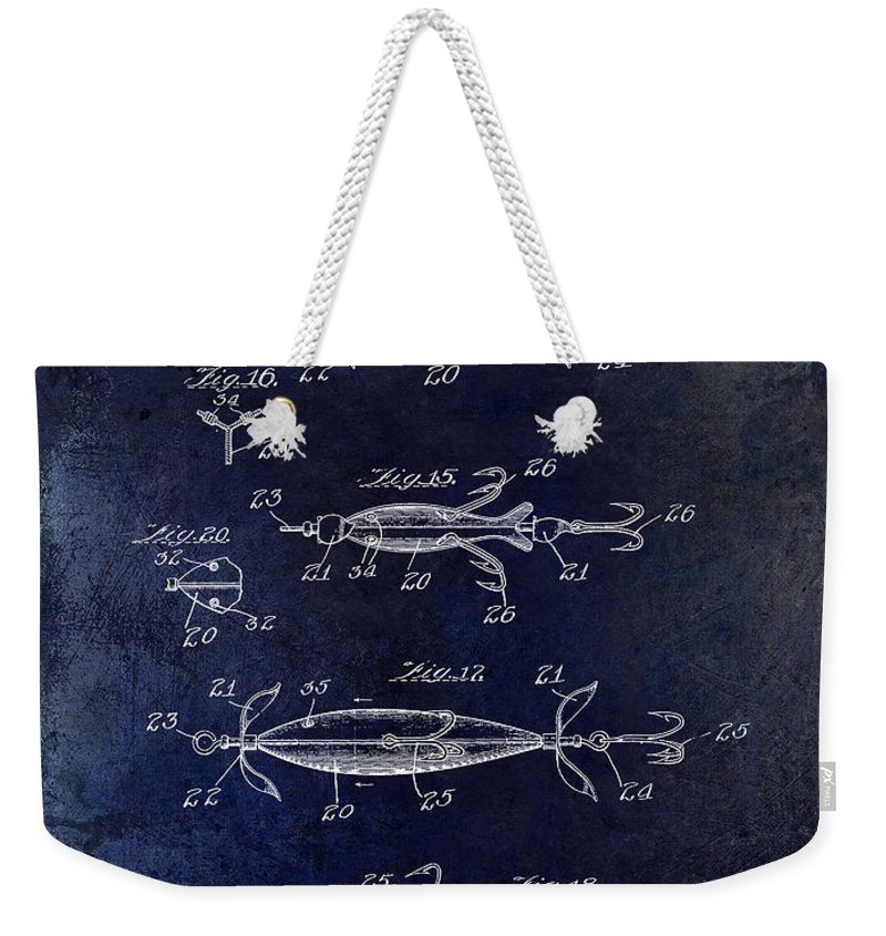Fly Fishing Lure Weekender Tote Bag featuring the photograph 1907 Fishing Lure Patent Blue by Jon Neidert