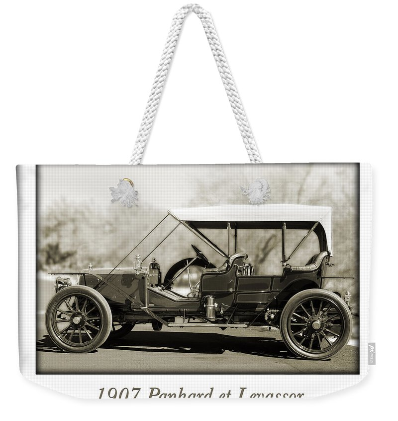 1907 Panhard Et Levassor Weekender Tote Bag featuring the photograph 1907 Panhard Et Levassor by Jill Reger