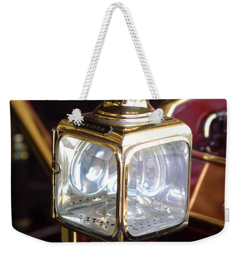 1907 Panhard Et Levassor Lamp Weekender Tote Bag featuring the photograph 1907 Panhard Et Levassor Lamp by Jill Reger