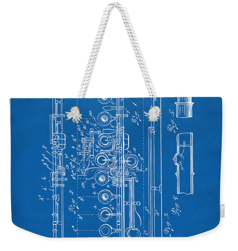 Flute Weekender Tote Bag featuring the digital art 1908 Flute Patent - Blueprint by Nikki Marie Smith