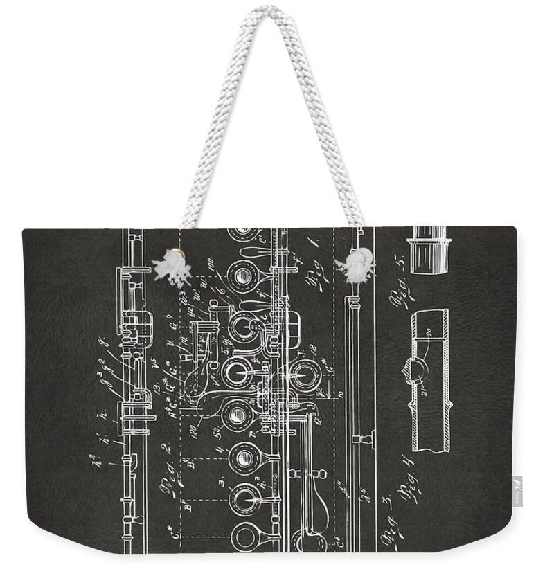 Flute Weekender Tote Bag featuring the digital art 1908 Flute Patent - Gray by Nikki Marie Smith