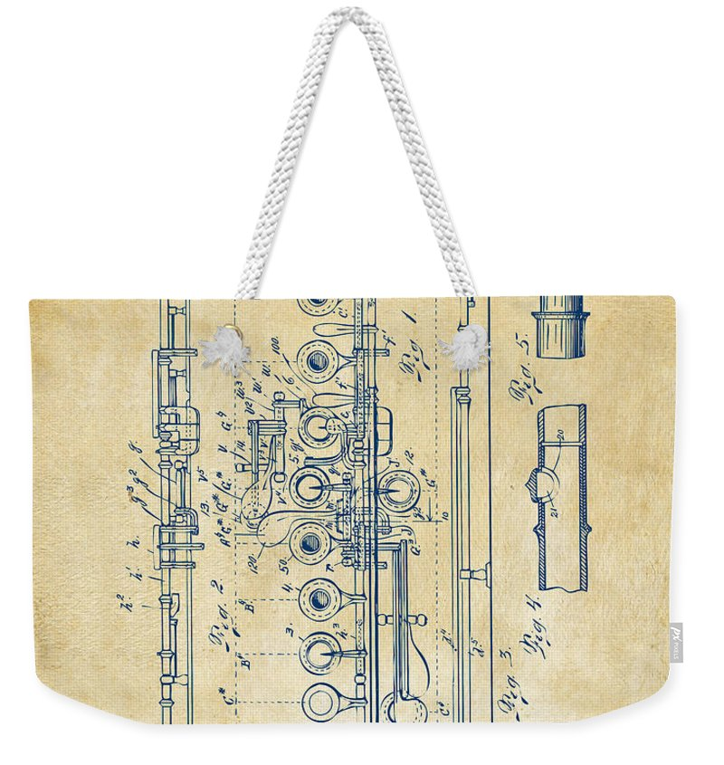 Flute Weekender Tote Bag featuring the digital art 1908 Flute Patent - Vintage by Nikki Marie Smith