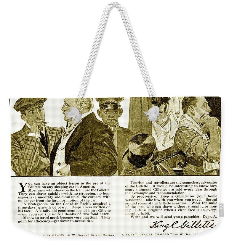 1910 Weekender Tote Bag featuring the digital art 1910 - Gillette Mens Shaving Advertisement by John Madison