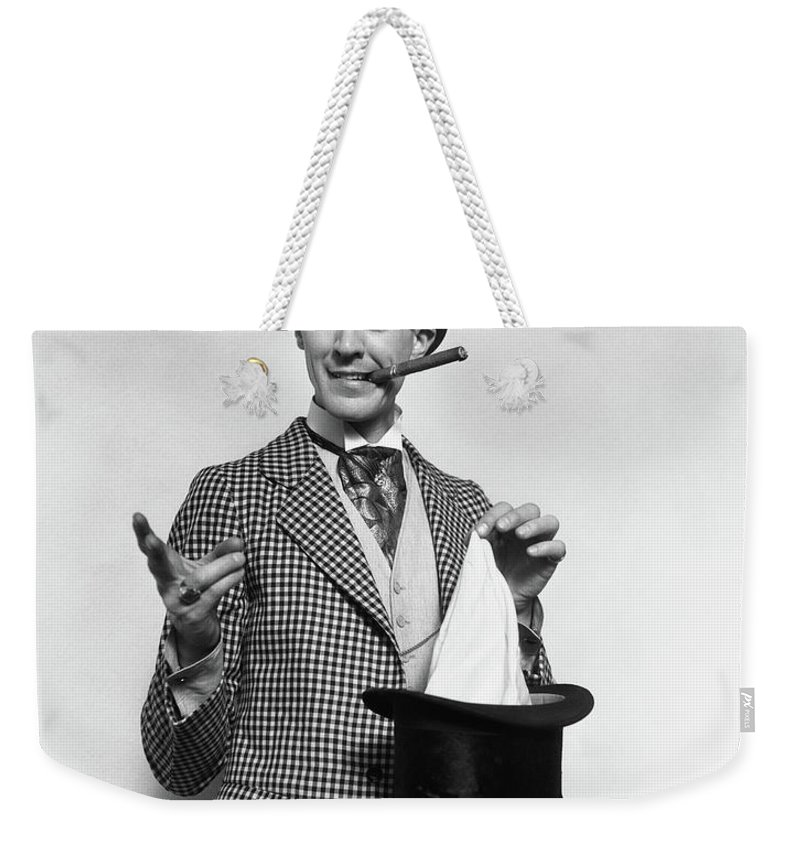 12b538d10f9 Photography Weekender Tote Bag featuring the photograph 1910s 1920s Character  Con Man Magician by Vintage Images