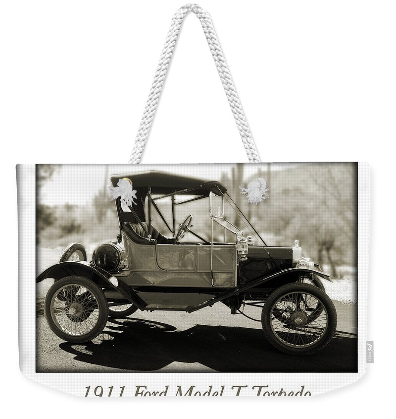 1911 Ford Model T Torpedo Weekender Tote Bag featuring the photograph 1911 Ford Model T Torpedo by Jill Reger