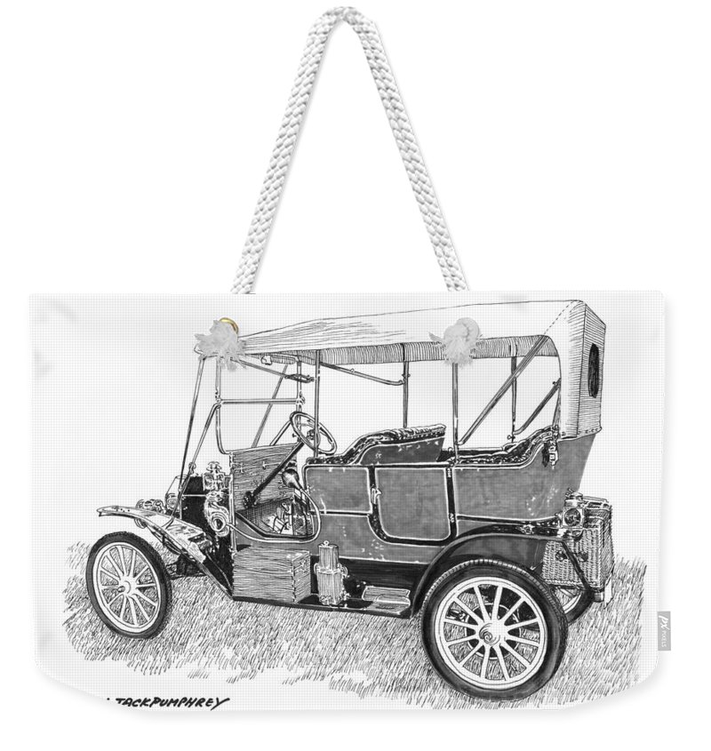 Pen & Ink-wash Drawing Of The 1911 Maxwell Ab By Jack Pumphrey Weekender Tote Bag featuring the painting 1911 Maxwell A B by Jack Pumphrey