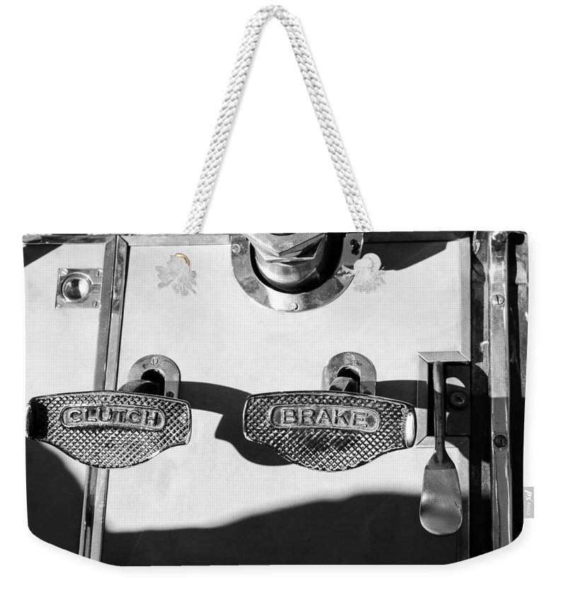 1911 Pope Hartford Model W Control Pedals Weekender Tote Bag featuring the photograph 1911 Pope Hartford Model W Control Pedals by Jill Reger
