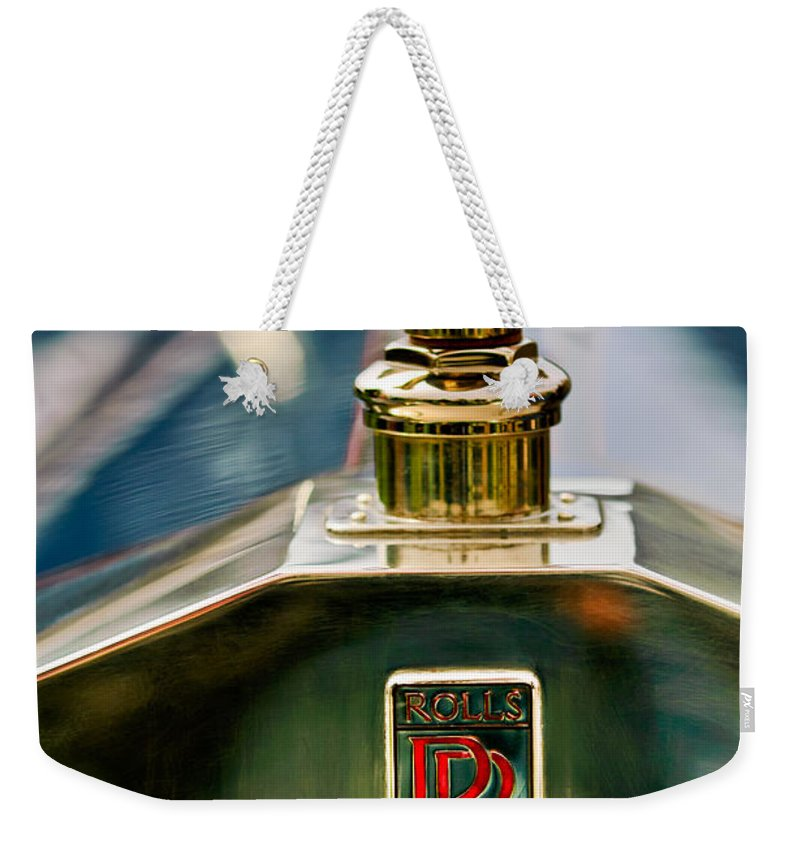 1912 Rolls-royce Silver Ghost Cann Roadster Hood Ornament Weekender Tote Bag featuring the photograph 1912 Rolls-royce Silver Ghost Cann Roadster Skull Hood Ornament by Jill Reger