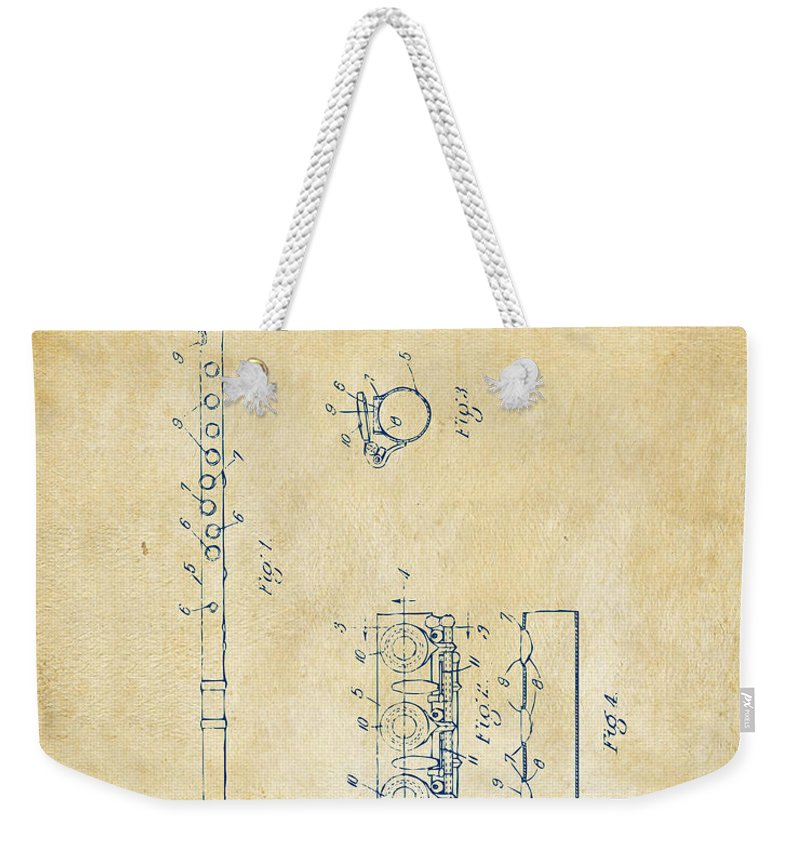 Flute Weekender Tote Bag featuring the digital art 1914 Flute Patent - Vintage by Nikki Marie Smith
