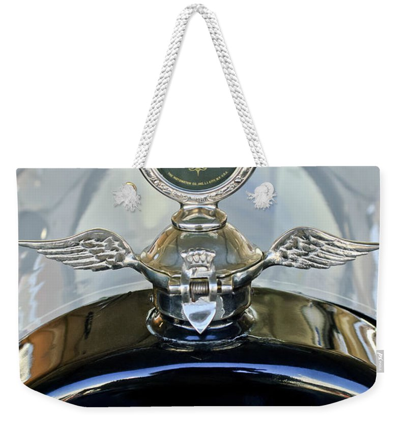 1915 Chevrolet 4 Door Touring Weekender Tote Bag featuring the photograph 1915 Chevrolet Touring Hood Ornament by Jill Reger
