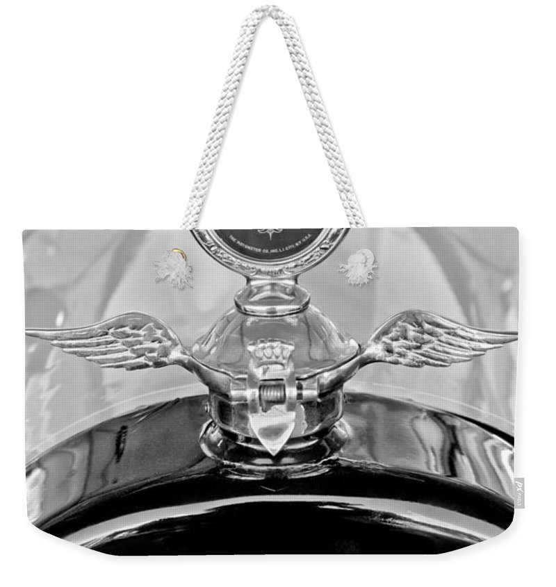 1915 Chevrolet Touring Hood Ornament - Moto Meter Weekender Tote Bag featuring the photograph 1915 Chevrolet Touring Hood Ornament - Moto Meter by Jill Reger