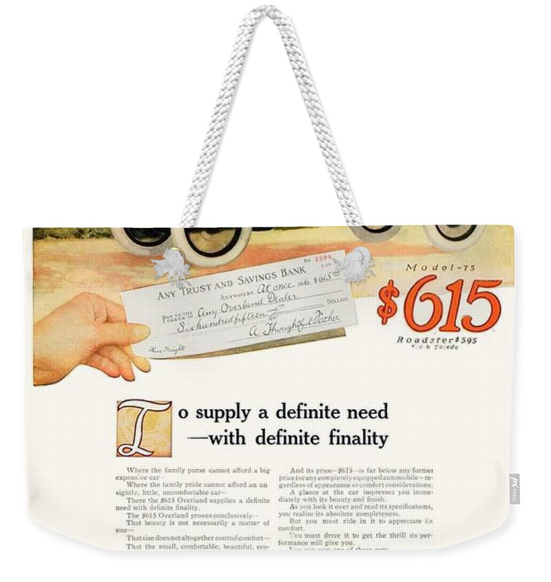 1916 Weekender Tote Bag featuring the digital art 1916 - Willys Overland Roadster Automobile Advertisement - Color by John Madison