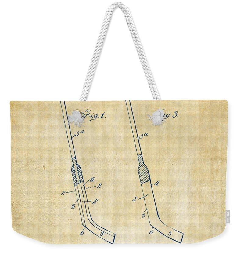 1916 Hockey Goalie Stick Patent Artwork Vintage Weekender Tote Bag