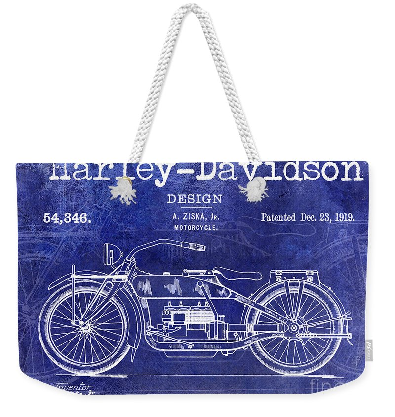 Harley Davidson Patent Drawing Weekender Tote Bag featuring the photograph 1919 Harley Davidson Patent Drawing Blue by Jon Neidert