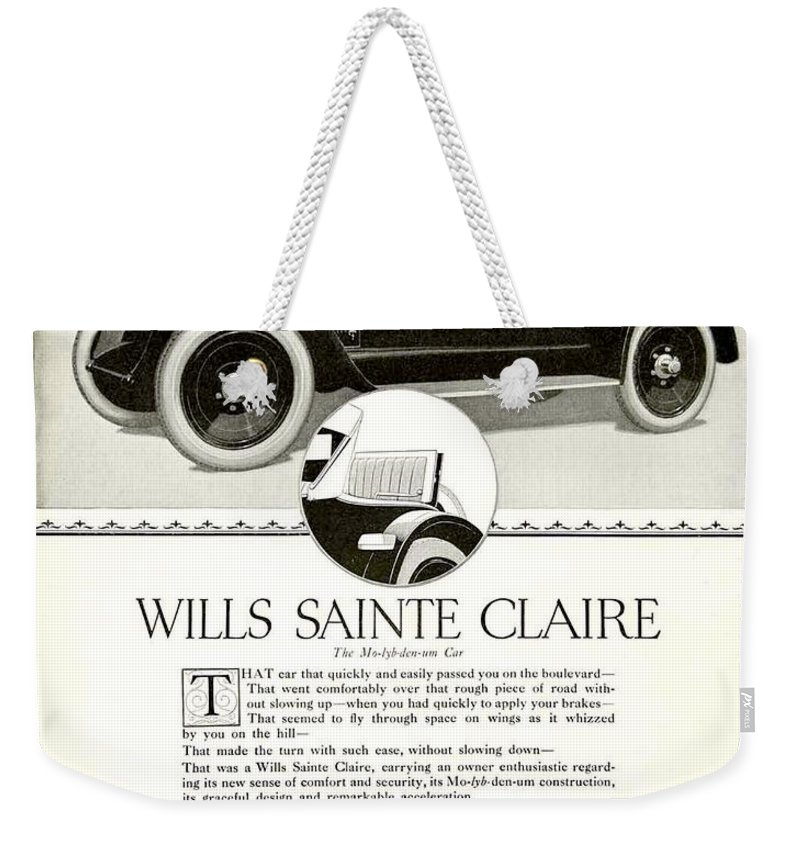 1921 Weekender Tote Bag featuring the digital art 1921 - Wills Sainte Claire Automobile Roadster Advertisement by John Madison