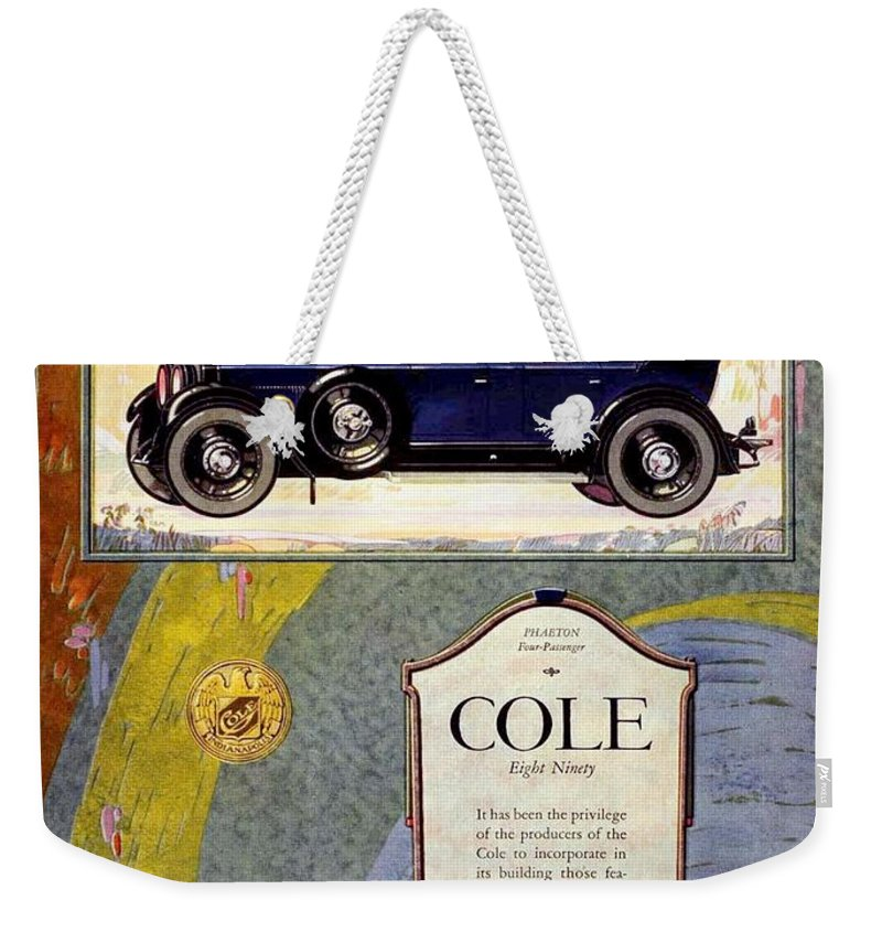 Cole Weekender Tote Bag featuring the digital art 1923 - Cole 890 - Advertisement - Color by John Madison