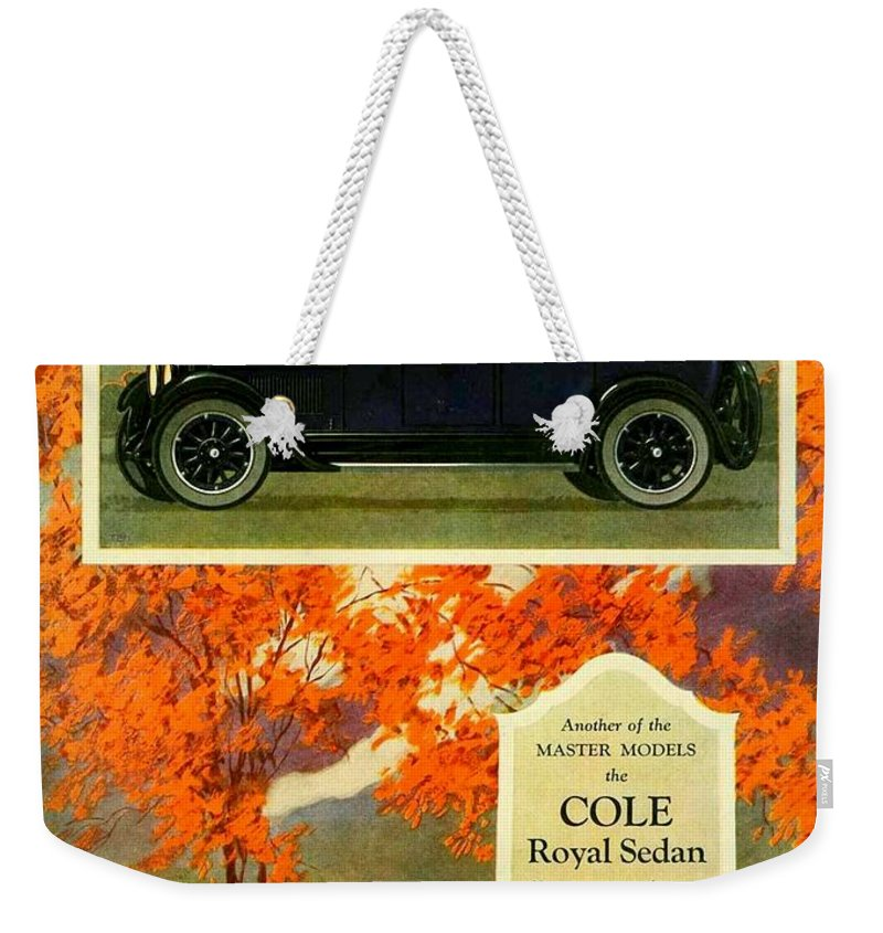 Cole Weekender Tote Bag featuring the digital art 1923 - Cole Royal Sedan - Advertisement - Color by John Madison