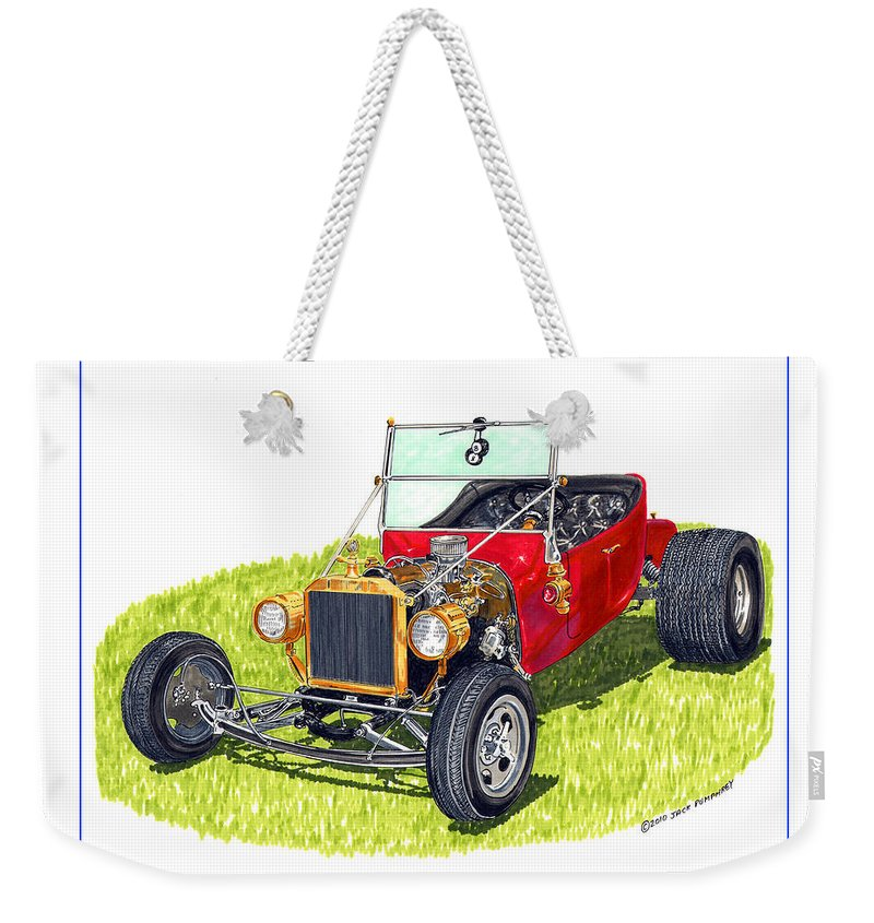 Framed Pen And Ink Images Of Classic Ford Cars. Pen And Ink Drawings Of Vintage Classic Cars. Black And White Drawings Of Cars From The 1920's Weekender Tote Bag featuring the painting T Bucket Ford 1923 by Jack Pumphrey