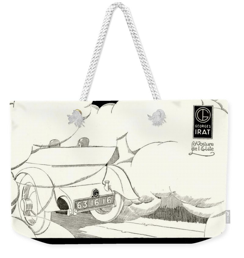 1924 Weekender Tote Bag featuring the digital art 1924 - Georges Irat La Voiture D'elite French Automobile Advertisement by John Madison