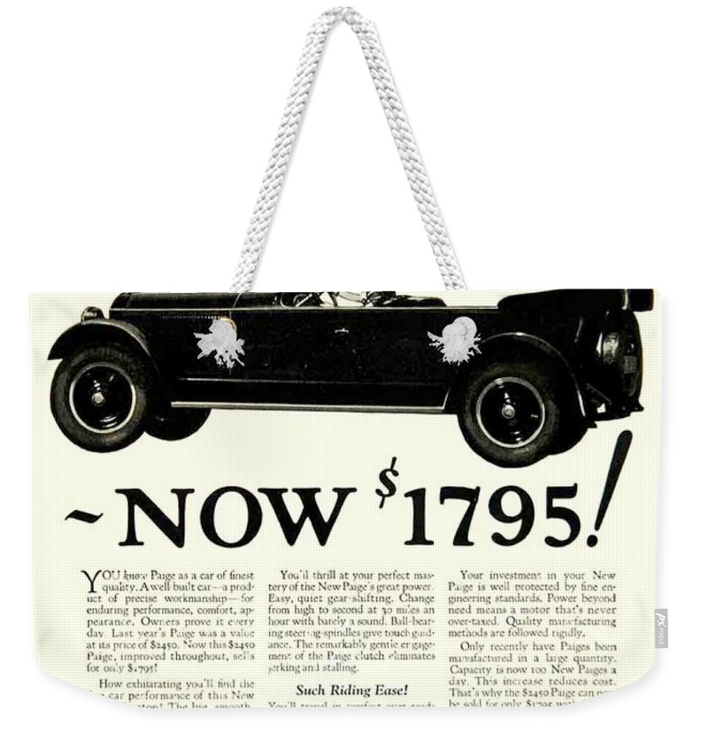 1924 Weekender Tote Bag featuring the digital art 1924 - Paige Automobile Advertisement by John Madison