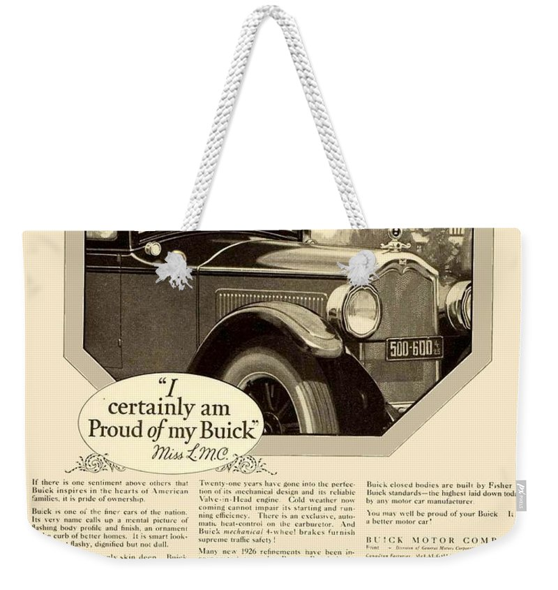 1925 Weekender Tote Bag featuring the digital art 1925 - Buick Automobile Advertisement by John Madison