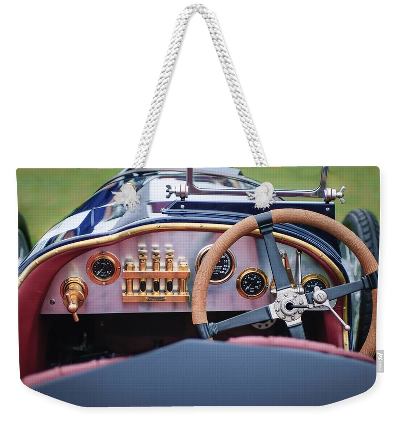 1925 Aston Martin 16 Valve Twin Cam Grand Prix Driving Wheel Weekender Tote Bag featuring the photograph 1925 Aston Martin 16 Valve Twin Cam Grand Prix Steering Wheel -0790c by Jill Reger