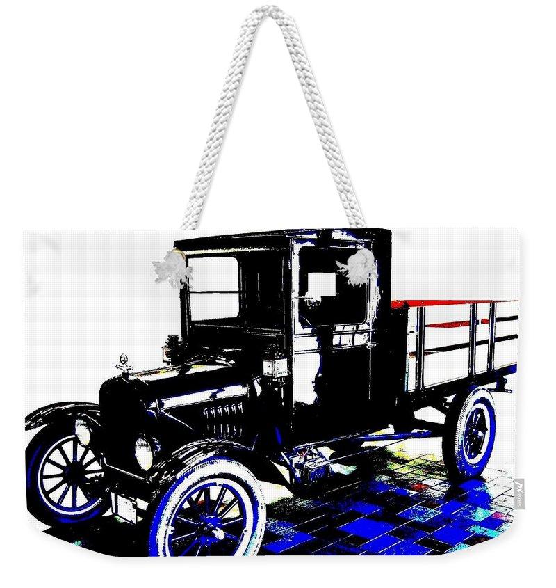 1926 Ford Model T Stakebed Weekender Tote Bag featuring the digital art 1926 Ford Model T Stakebed by Will Borden