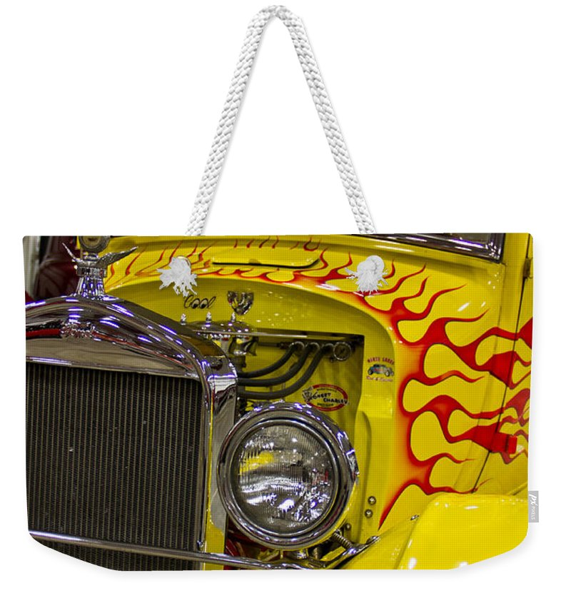 Ford Weekender Tote Bag featuring the photograph 1927 Ford-front View by Eti Reid