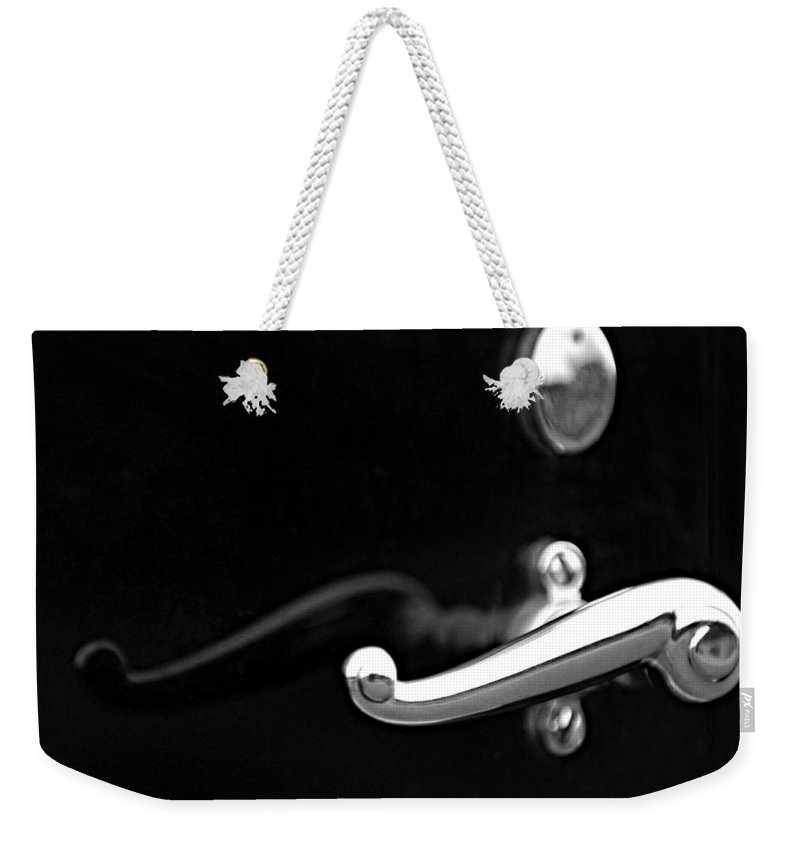 Black And White Weekender Tote Bag featuring the photograph 1928 Rolls-royce Phantom 1 Door Handle Black And White by Jill Reger