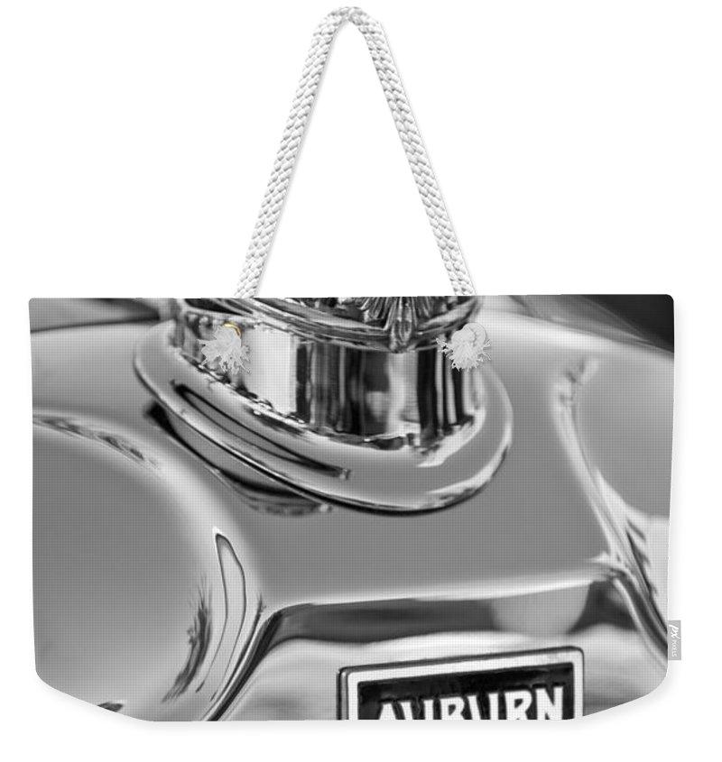 1929 Auburn 8-90 Speedster Weekender Tote Bag featuring the photograph 1929 Auburn 8-90 Speedster Hood Ornament 2 by Jill Reger