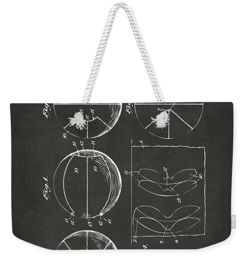Basketball Weekender Tote Bag featuring the digital art 1929 Basketball Patent Artwork - Gray by Nikki Marie Smith