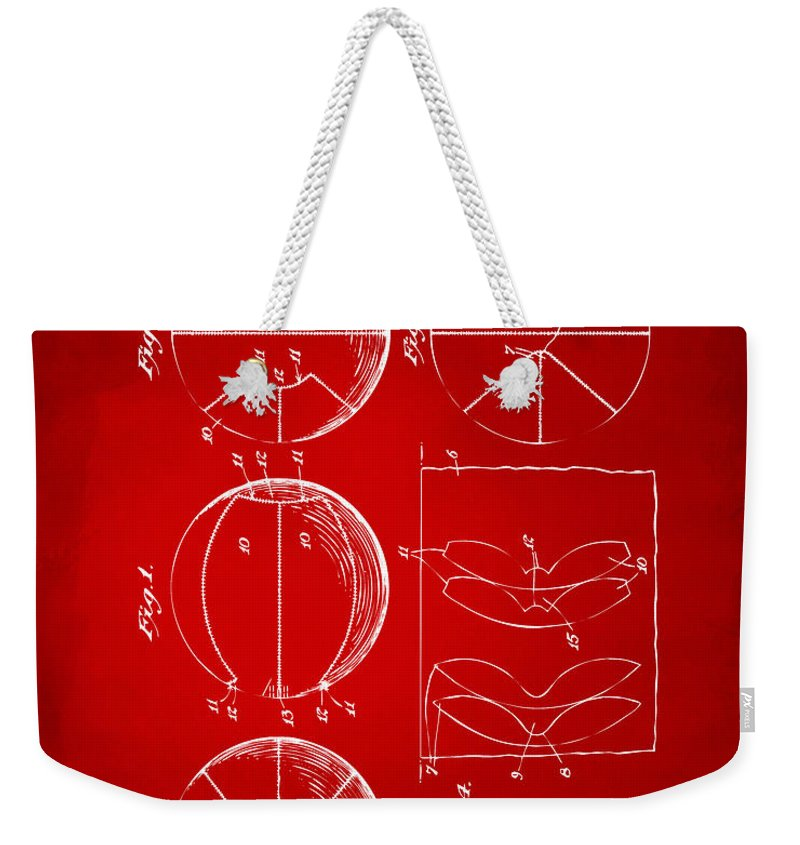 Basketball Weekender Tote Bag featuring the digital art 1929 Basketball Patent Artwork - Red by Nikki Marie Smith