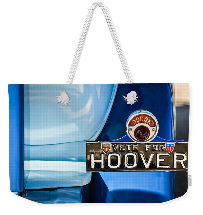 1930 Db Dodge Brothers Taillight Emblem Weekender Tote Bag featuring the photograph 1930 Db Dodge Brothers Taillight Emblem -030c by Jill Reger