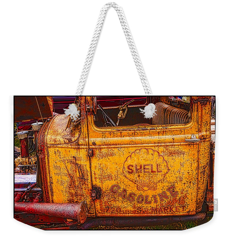 1930 Ford Weekender Tote Bag featuring the photograph 1930 Ford Delivery by Mike Penney