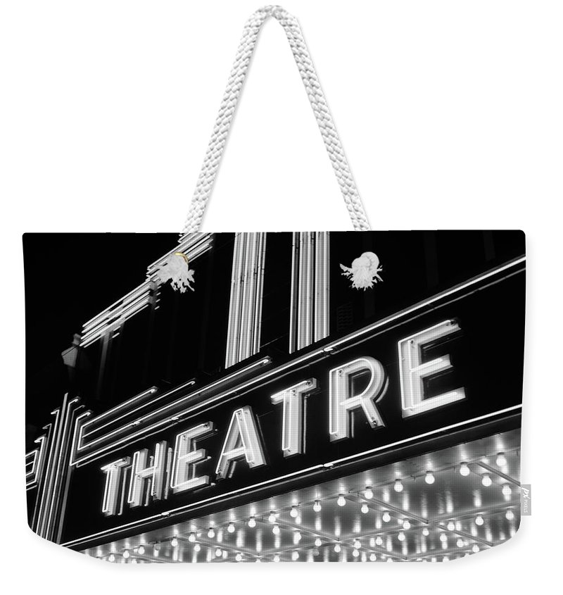Photography Weekender Tote Bag featuring the photograph 1930s 1940s Theater Marquee Theatre by Vintage Images